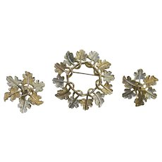 Sarah Coventry Garland Circle Pin Brooch, Clip Earring Set 1968