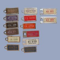 14 Illinois Mini Key Chain License Plates, 1940's-60's
