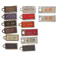 14 Illinois Mini Key Chain License Plates, 1940's-60's