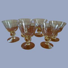 Six Cambridge Allegro Gold Krystol 6oz Wine Champagne Goblets