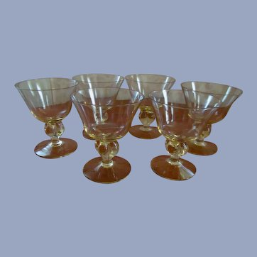 Six Cambridge Allegro Gold Krystol 6oz Wine Champagne Goblets