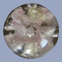 "Gold, Pink, White Glitter, Lobed 3"" Glass Paperweight"