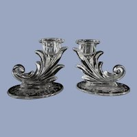 Fostoria Baroque Navarre Flame Candle Holders