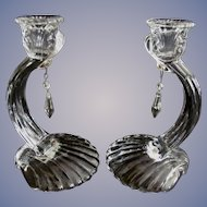 """Cambridge Caprice 7"""" Crystal Candle Holders, Prisms"""