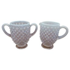 Fenton White French Opalescent Hobnail Creamer and Sugar
