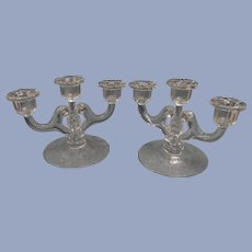 Rose Point Cambridge 3 Lite Candle Holders