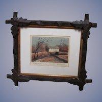 Listed Artist, John Mosiman Signed Serigraph Print, Marshall Covered Bridge