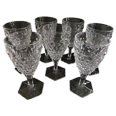 8 Fostoria American Water Tea Goblets, Hex Foot