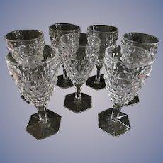 8 Fostoria American Water Tea Goblets, Hex Foot