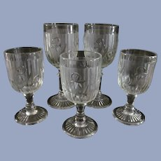5 Iris and Herringbone Wine Cocktail Goblets by Jeannette