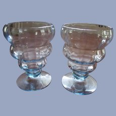 Pair Blue Fostoria 4101 Bubble Goblets