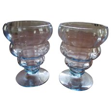 Pair Blue Fostoria 4101 Bubble Goblets