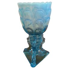 Northwood Blue Opalescent Beads and Bark Twig Foot Vase
