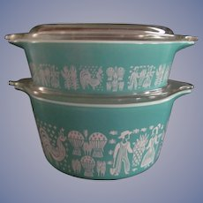 2 Pyrex Amish Butterprint Turquoise Casserole Dishes 471, 478