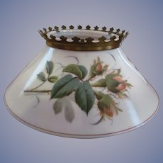 Milk Glass, Thistle Slanted Shade for Hanging Kerosene Oil Lamp Fixture