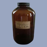 5lb Brown Calcium Sulfate Chemical Bottle, Brockway Glass Co