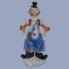 """Colorful 10 3/4"""" Porcelain Clown Figurine"""