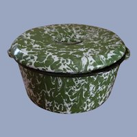 Green White Swirl Graniteware Handled Covered Pan