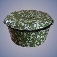 Green White Swirl Graniteware Handled Covered Pan