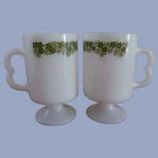 2 Corning Crazy Daisy Footed Mugs