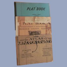 3 Hancock County Illinois Plat Books, 1936 1940's 1955