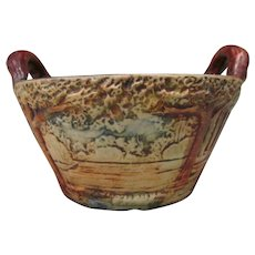 Weller Pottery Woodland Handled Basket Bowl