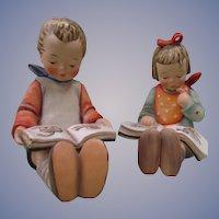 "Hummel Goebel Book Worm 5 1/2""  Boy and Dated 1952 Girl 157/0 A & B"