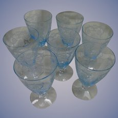 "7 Azure Blue Versailles Etch Fostoria  5 1/4""  9oz Tumblers"