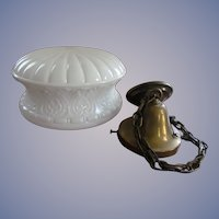 Large Milk Pattern Glass Hanging Ceiling Light, Complete