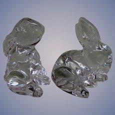 2 Crystal Waterford Bunny Rabbit Figurines