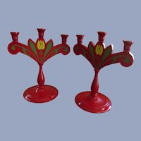 "Wood Sweden Tulips   11.5""  3 Light Candle Holders"