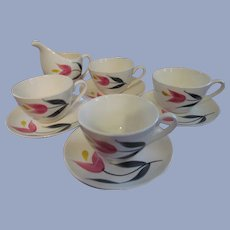 4 Stetson China Pink Yellow Tulip Cups & Saucers plus Creamer