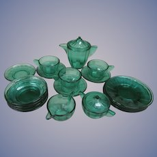 18pc Green Akro Agate Depression Glass Children Dishes