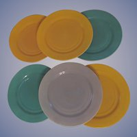 6 Hazel Atlas Ovide Fired On Color Dinner Plates