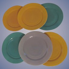 6 Hazel Atlas Ovide Fired On Color Dinner Plates