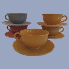 5 Hazel Atlas Ovide Fired On Color Cup and Saucer Sets