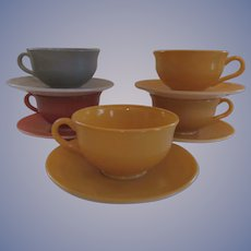 5 Hazel Atlas Ovide Fired On Color Cup and Saucer Sets