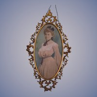 Lovely Victorian Lady Chalk Pencil Drawing, Fancy Metal Frame