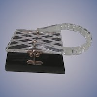 Vintage:Lucite Black Clear Box Purse Handbag