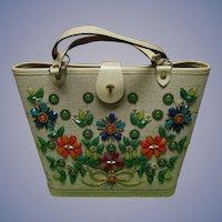 "Enid Collins 1960s Canvas ""Jewel Bokay"" Jeweled Purse Handbag"