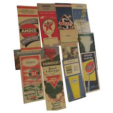 11 Vintage Gas Oil Company State & City Fold Out Road Maps