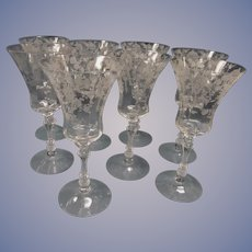 8 Cambridge Rose Point Tall Water Goblets