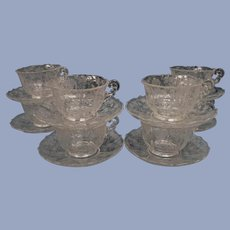 8 Cambridge Rose Point Cups and Saucers