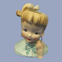 "Napco 1960 Ponytail Girl 6"" Head Vase"