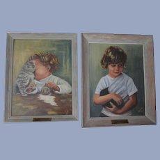Precious Kitten Children Oil Paintings by Carlotta Kinney, Early 1960s