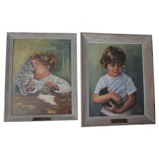 Precious Kitten Children Oil Paintings by Carlotta Kinney, Early 1960s