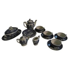 17pc Japan Blue Willow Childs Teaset