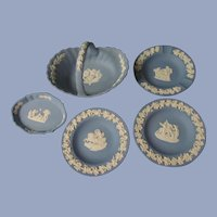 5 Blue Wedgwood Items, Basket, Trays, Ashtray England