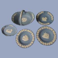5 Blue Wedgwood Items, Basket, Trays, Ashtray England