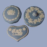 3 Blue Wedgwood Powder Trinket Jars Boxes England